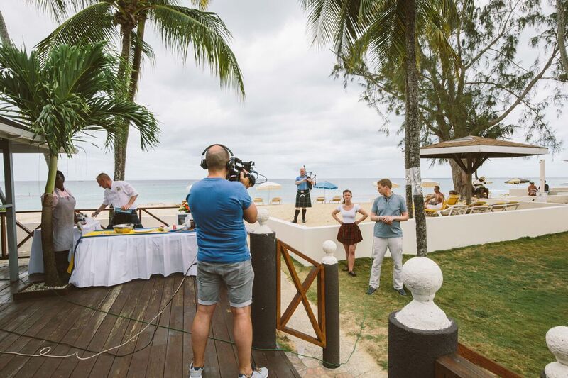 STV film food demo at Discovery Bay Hotel Barbados